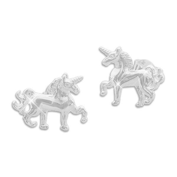 Große Einhorn Ohrstecker Ohrringe 925 Silber
