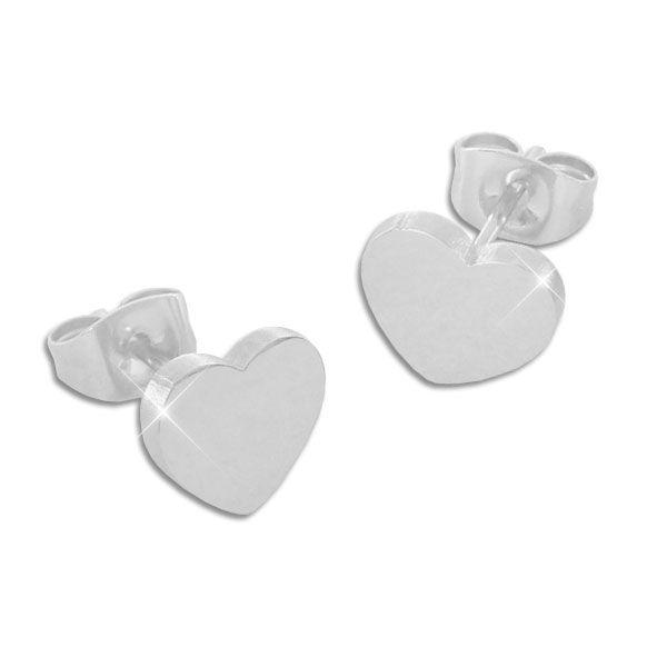Edelstahl Ohrringe Herz - Ohrstecker mit Herzen für Damen
