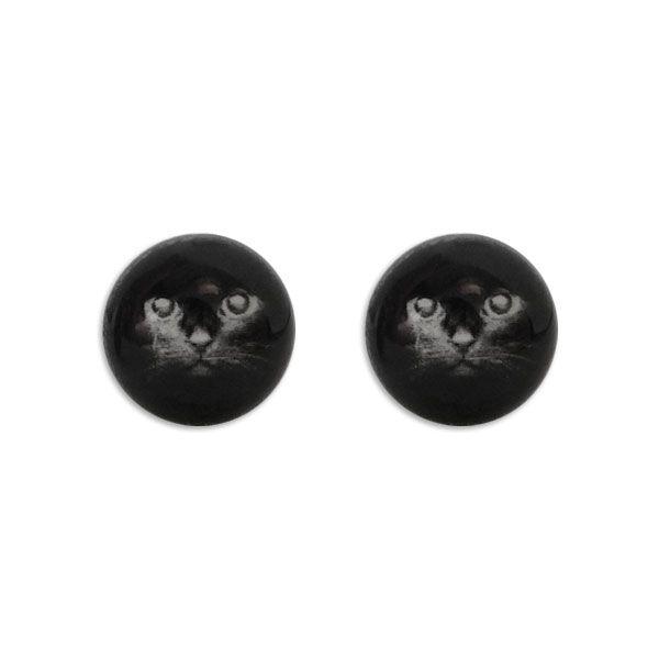 Runde Ohrstecker Ohrringe mit schwarzer Katze 925 Silber