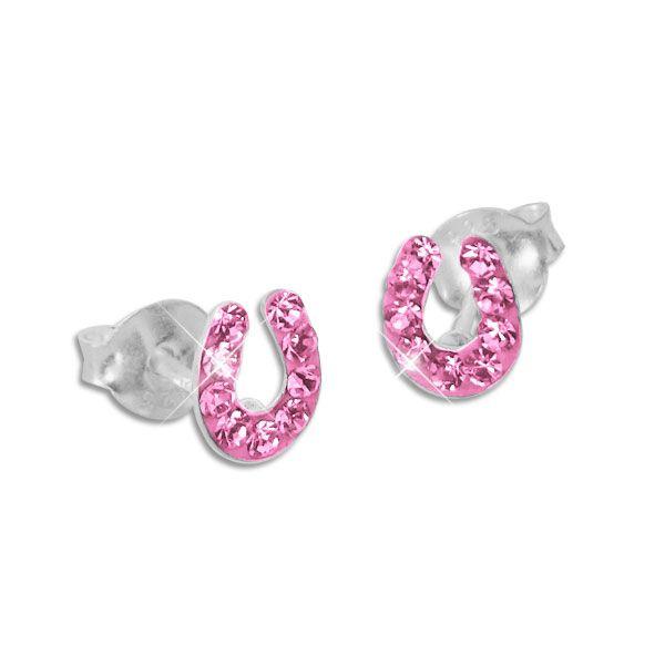 Hufeisen Ohrstecker mit rosa Kristallen 925 Silber Kinder Ohrringe