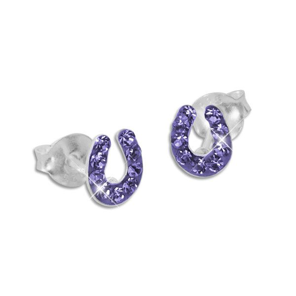 Kinder Ohrringe Ohrstecker Hufeisen mit lila Kristallen 925 Silber