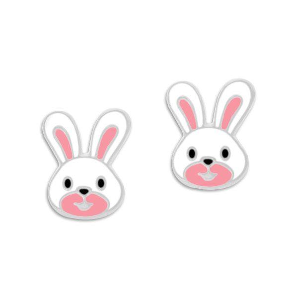 Kaninchen Kopf Ohrstecker weiß rosa 925 Silber Ostergeschenk