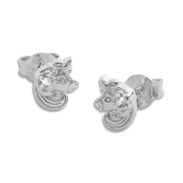 Einhorn Ohrstecker mit Blume und Zirkonia 925 Silber
