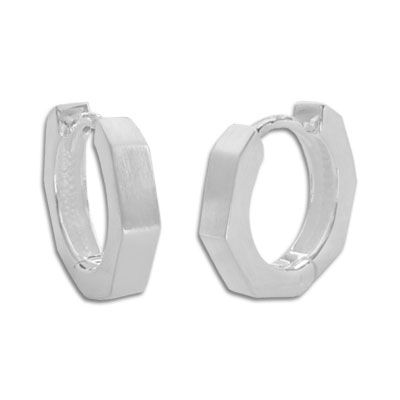 Design Klapp-Creolen eckig mattiert 925 Silber