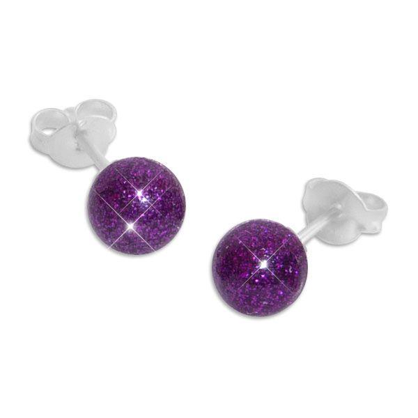 Glitzer Kugel Ohrstecker lila violett 925 Silber
