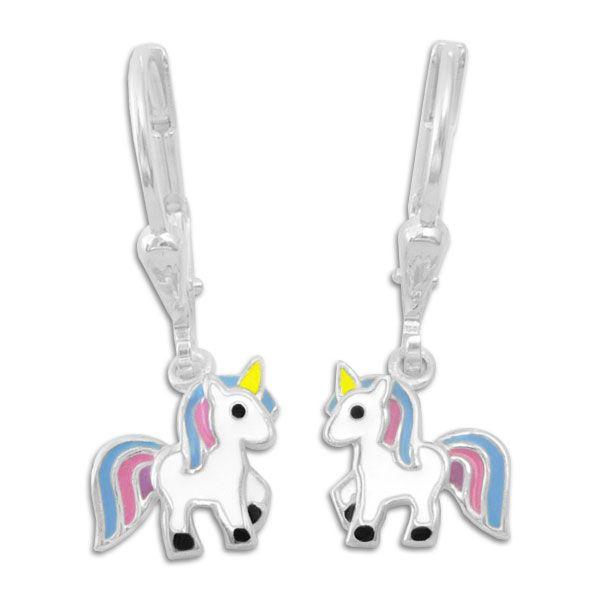 Kinder Ohrringe mit Einhörnern blau rosa lila 925 Silber