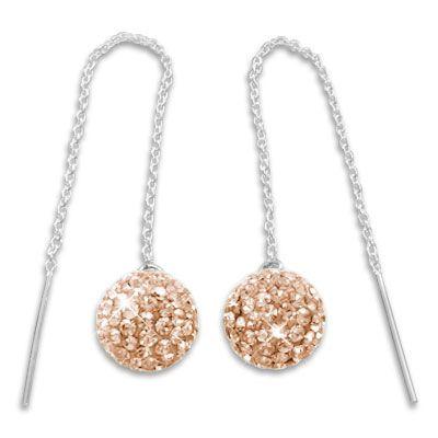 Durchzieher Ohrringe mit XXL Strass Kugeln champagner 925 Silber