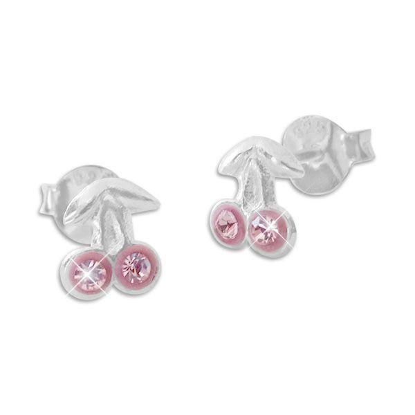 Zarte Kirschen Ohrstecker Ohrringe mit rosa Strass Kristallen 925 Silber