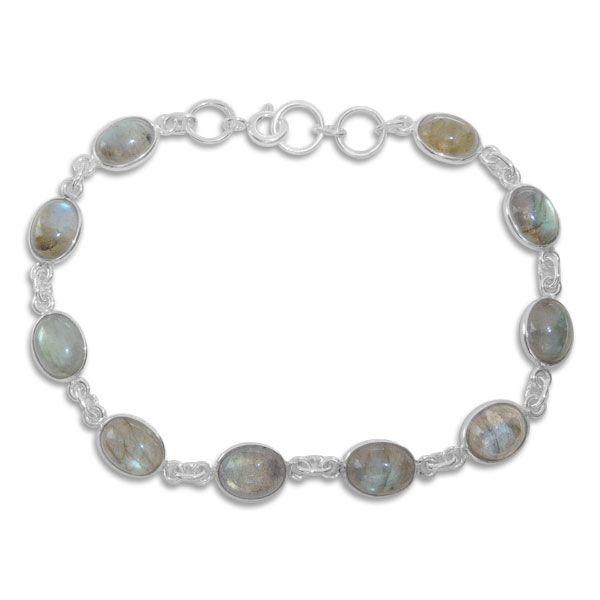 Labradorit Armband mit 10 ovalen Steinen 925 Silber 19 - 20,5 cm