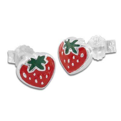 Ohrstecker mit Erdbeeren rot grün 925 Silber