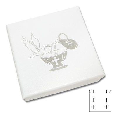 Schmucketui weiß-silber mit Taube 50 x 50 x 25 mm