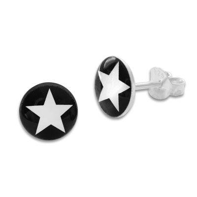 Große runde Ohrstecker schwarzer Stern auf weiß 925 Silber