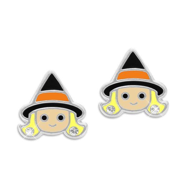 Kinder Ohrstecker Hexenkopf mit Strass Steinen 925 Silber Halloween Ohrringe