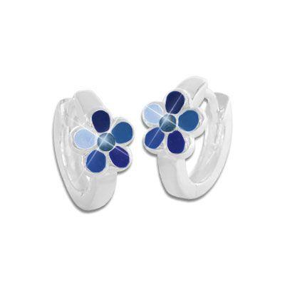 Kinderschmuck Creolen mit Blumen blau 925 Silber