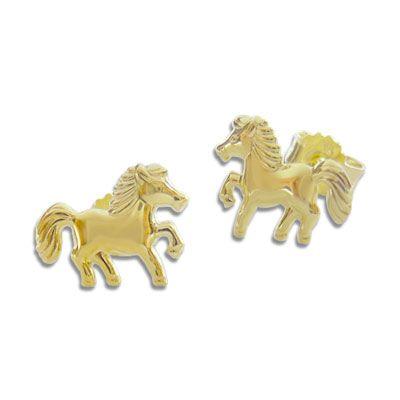 Pferde Ohrstecker Ohrringe 333 Gold Kinderschmuck 333er Gelbgold