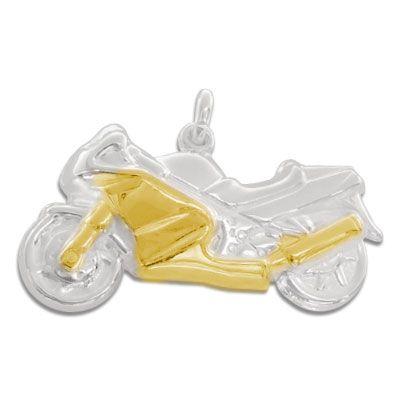 Anhänger mit Motorrad bicolor 925 Silber