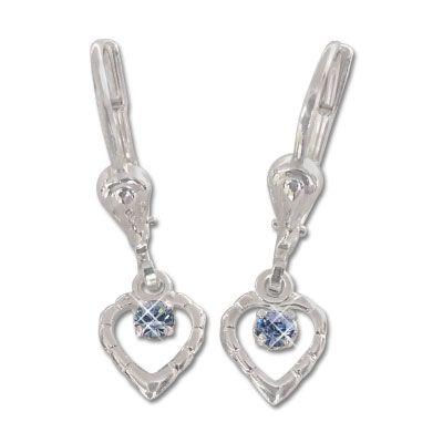 Kinder Ohrhänger mit Herzen und blauem Stein 925 Silber