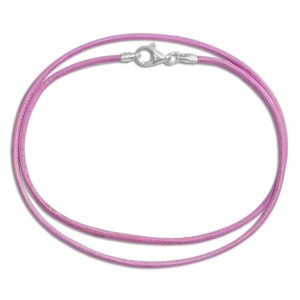 Lederband rosa 38 cm mit 925 Silber Verschluss Mädchen Band aus Leder