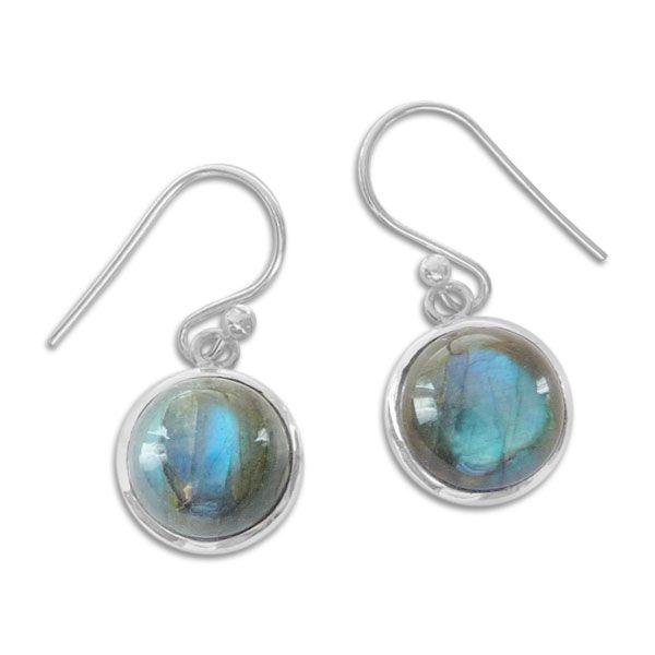 Labradorit Ohrringe mit runden Edelsteinen 925 Silber