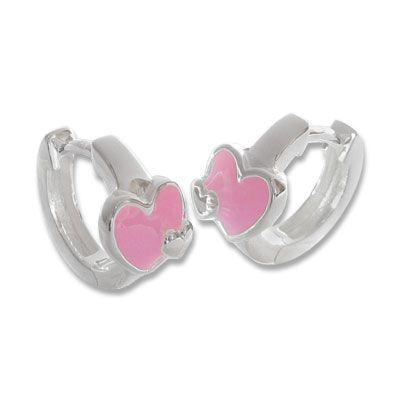 Creolen für Kinder mit rosa Herzen 925 Silber