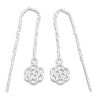 Ohrringe Durchzieher mit Blume Rose 925 Silber
