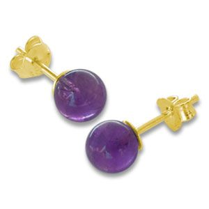 Amethyst Ohrstecker 6 mm 333 Gold