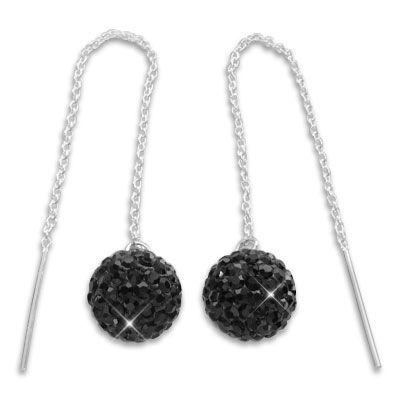 Durchzieher Ohrringe mit XXL Kugel 3D schwarze Strass Kristalle 925 Silber