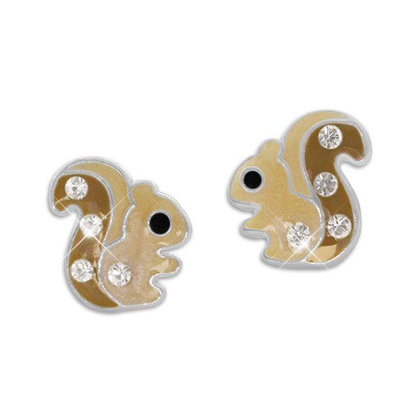 Kinder Ohrringe Eichhörnchen Ohrstecker mit Kristallen 925 Silber