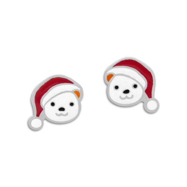 Ohrstecker Eisbär Gesicht mit Weihnachtsmütze 925 Silber