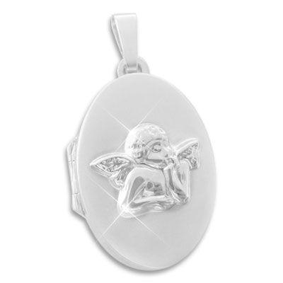 Schutzengel Medaillon oval 925 Silber