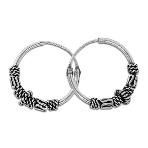 Gothic Schmuck Creolen 16 x 2,5 mm 925 Silber