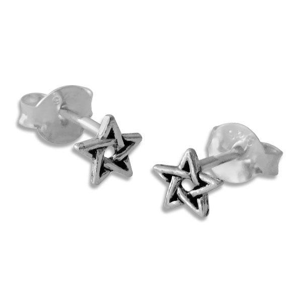 Pentagramm Ohrringe 925 Silber Fünfstern Ohrstecker