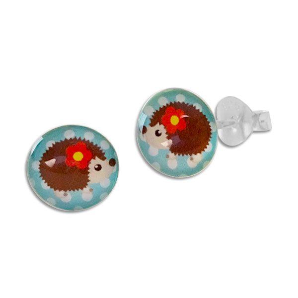 Runde Ohrstecker mit Igel Mädchen 925 Silber Ohrringe