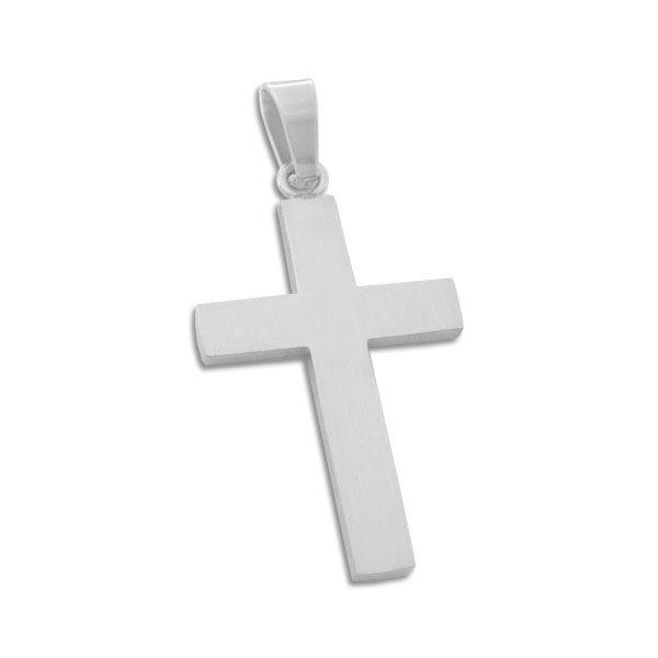 Schlichter Edelstahl Kreuz Anhänger mattiert für Damen und Herren