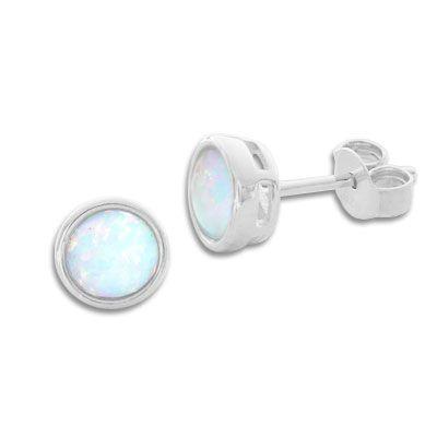 Opal Ohrringe 6 mm 925 Silber runde Opal Ohrstecker mit Edelsteinen