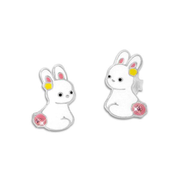 Kaninchen Ohrstecker mit Strass Steinen 925 Silber