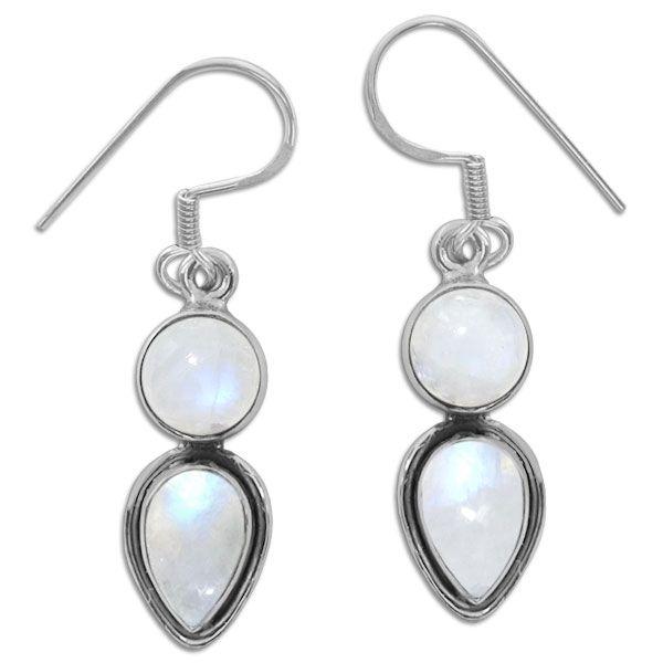 Mondstein Ohrringe mit 2 Steinen 925 Silber Edelstein Ohrhänger