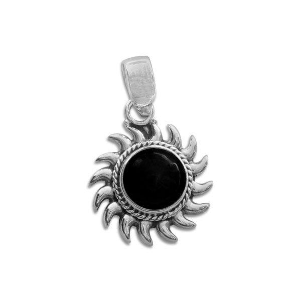 Onyx Anhänger Sonne 925 Silber mit schwarzem Stein
