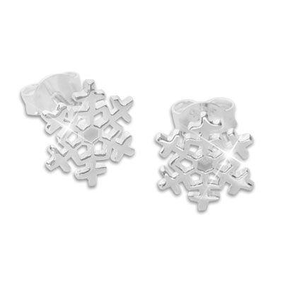 Schneeflocken Ohrstecker glänzend 925 Silber Eisstern Ohrringe