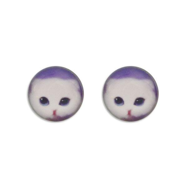Runde Ohrstecker Ohrringe mit weißer Katze 925 Silber