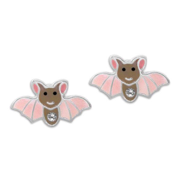 Fledermaus Ohrstecker mit Kristallen 925 Silber Kinder Ohrringe
