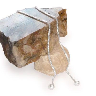 Ohrhänger Durchzieher Kugel 110 mm 925 Silber lange Ohrringe
