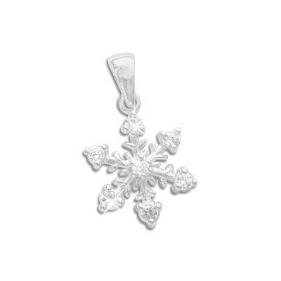 Eiskristall Anhänger mit 7 Zirkonia Steinen weiß 925 Silber Eisstern für Kinder und Damen