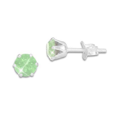 Kristall Ohrstecker Milky grün rund 5 mm 925 Silber