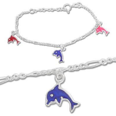 Kinderarmband mit Delphinen 925 Silber 12,5 cm bis 15 cm