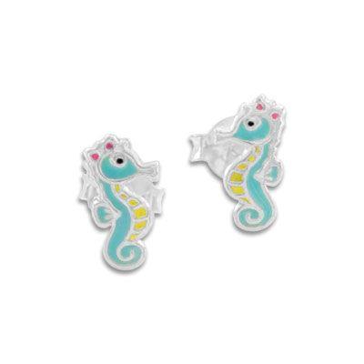 Kinder Ohrstecker Ohrringe Seepferdchen mit Schleife 925 Silber