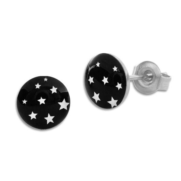Runde Ohrstecker Ohrringe weiße Sterne auf schwarz 7 mm Edelstahl