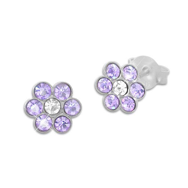 Kinder Ohrstecker Blume mit lila und weißen Kristallen 925 Silber