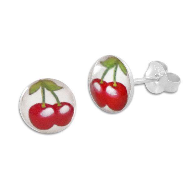 Runde Ohrstecker Ohrringe Kirschen 925 Silber