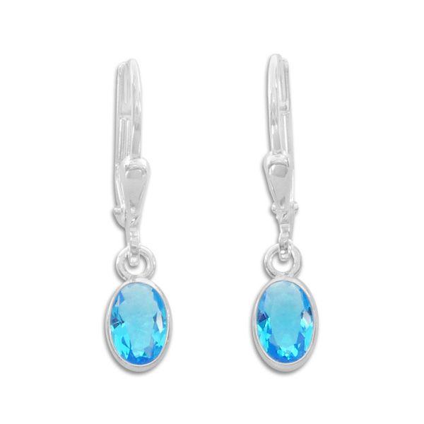 Klapp-Brisur mit aqua blauen Zirkonia Steinen oval 925 Silber